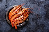 Raw fresh Prawns Langostino Austral on metal plate