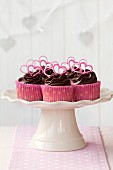 Valentine cupcakes on a cake stand