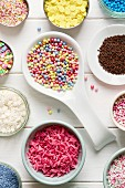 Assortment of candy sprinkles for decorating cupcakes or cookies