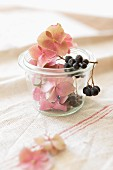 Chokeberries and hydrangea flowers used as decorations in a small preserving jar