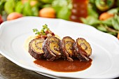 A beef roulade with an apricot & polenta filling