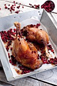 Roast legs of goose with cranberries
