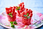 Watermelon sticks with mint