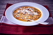 Butternut squah soup with almonds and Parmesan