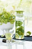 Heiße Zitronenlimonade mit Minze in Glaskrug und Teeglas