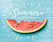 Slice of watermelon on turquoise blue background, white lettering