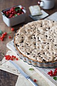 Redcurrant & almond tart in a baking tin