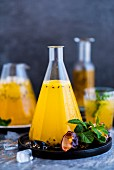 Passionfruit cordial in a carafe