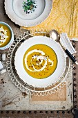 Red lentil soup with sour cream (seen from above)