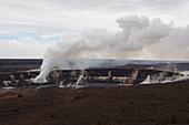 Steam and gas eruption at Kilauea Volcano