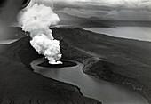 Taal volcano erupting