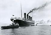 Titanic leaving the shipyard
