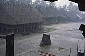 Monsoon Rain in Indonesian Hut Village