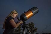 Amateur Astronomer Gazing at Stars