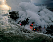 Lava Flowing into the Ocean,Hawaii
