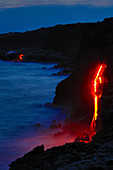 Lava Flowing into Ocean at Night,Hawaii