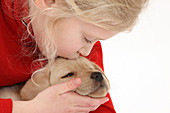 Young Girl with Yellow Labrador Puppy