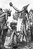 Human sacrifice,Mexico,illustration