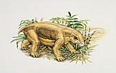 Lystrosaurus in a bush,illustration