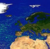Ocean currents off Europe