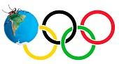 Mosquito on Olympic logo,illustration
