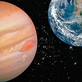 Jupiter and the Earth,composite image