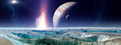 Impact on early Europa,illustration