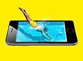 Smartphone immersion,conceptual image