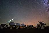 Meteor over ALMA telescopes