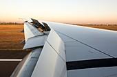 Aeroplane wing on landing