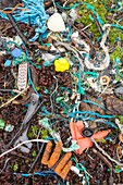 Plastic rubbish washed ashore