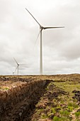 Wind turbines with peat cutting