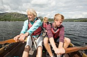 Family in a rowing boat