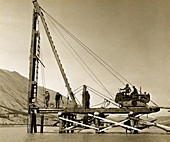 River bridge construction,1940s