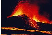 Volcanic eruption at night