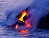 'Lava flowing into the ocean,Hawaii'