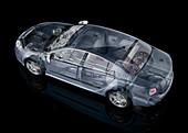 Inside of a car,illustration