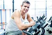 Man resting in gym