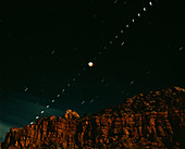 Time-lapse image of a total lunar eclipse