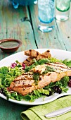 Grilled salmon fillet with chimichurry sauce on a bed of salad leaves