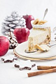 A slice of juicy apple cake for Christmas