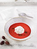 Beetroot gazpacho with cashew nut and cream cheese cream