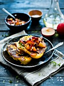 French toast with plum salsa