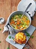 Turnip soup with kniala (potato cakes)