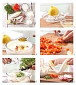Chicoreeblätter gefüllt mit Curry-Frischkäse zubereiten