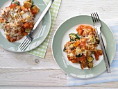 Courgette and tomato bake with Manchego cheese