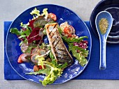 Grileld salmon with salad and mustard and honey dressing