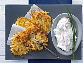 Rösti (fried Swiss potato cake) with herb quark
