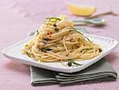 Spicy caper spaghetti with lemon and chilli