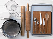 Assorted kitchen utensils for preparing traybakes